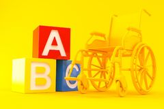Wheelchair background with toy blocks Royalty Free Stock Image