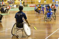 Wheelchair Badminton Action Royalty Free Stock Images