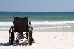 Wheelchair At Beach Royalty Free Stock Images