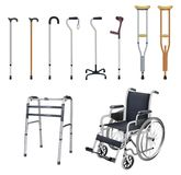 Wheelchair, cane, crutch, walkers. Set of special medical auxiliary means of transportation for people with. Musculoskeletal system diseases. Realistic objects Stock Photography