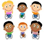 Wheelchair children character vector pack Stock Photo