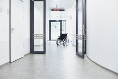 Wheelchair corridor hospital Stock Photos