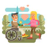 Wheelchair couple dating. Differently abled male on wheelchair dating woman Stock Photography