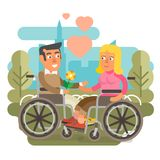 Wheelchair couple dating. Differently abled couple on wheelchairs dating Royalty Free Stock Photos