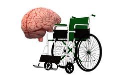Wheelchair crutch mentality - a brain mindset and a wheelchair. A computer generated illustration image of the wheelchair crutch mentality - a brain mindset and royalty free illustration