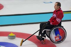 Wheelchair curling Stock Photo