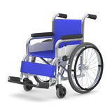 Wheelchair, 3D illustration. Blue seated wheelchair. 3D illustration Royalty Free Stock Image