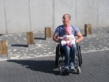 Wheelchair Dad and Daughter Stock Photography