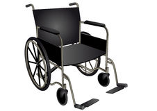 Wheelchair. Dark wheel chair isolated on white Royalty Free Stock Photography