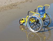 Wheelchair designed for use on the Sea Beach Stock Photography