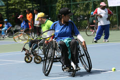 Wheelchair. Disabled athletes get coaching clinic sport wheelchair tennis in Solo, Central Java, Indonesia Royalty Free Stock Photo