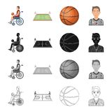 Wheelchair, disabled, man, and other web icon in cartoon style. Basketball, game, competitions, icons in set collection. Wheelchair, disabled, man, and other Stock Photo