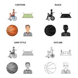 Wheelchair, disabled, man, and other web icon in cartoon style. Basketball, game, competitions, icons in set collection. Wheelchair, disabled, man, and other Royalty Free Stock Photography