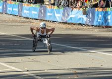 Wheelchair division participants during Annual New York City Marathon royalty free stock photography