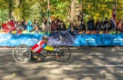 Wheelchair division participants during Annual New York City Marathon stock photo