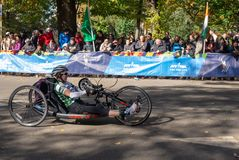Wheelchair division participants during Annual New York City Marathon stock photos