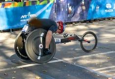 Wheelchair division participants duringNew York City Marathon stock photo