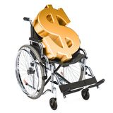 Wheelchair with dollar symbol, financial support concept. 3D ren. Dering isolated on white background Royalty Free Stock Photo