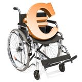 Wheelchair with euro symbol, financial support concept. 3D rende. Ring isolated on white background Stock Photo