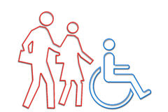 Wheelchair family neon life series. Family with handicapped person depicted in neon tube style illustration part of NEON LIFE SERIES stock illustration