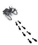 Wheelchair and footprints on white background.3d rendering Royalty Free Stock Image