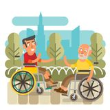 Wheelchair friends. Differently abled friends on wheelchairs meeting Stock Photos