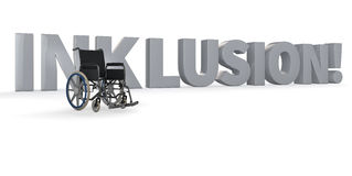 Wheelchair in front of Inklusion! Stock Photo