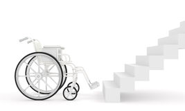 Wheelchair in front of stairs  on white background Royalty Free Stock Image
