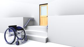Wheelchair in front of steps to a door Stock Photography