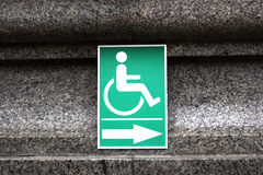 Wheelchair Handicap Sign  inside The temple  Wat Sothorn Wararam Thailand. Wat thai Royalty Free Stock Photo