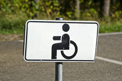 Wheelchair Handicap Sign in resort park  road Royalty Free Stock Images