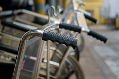 Wheelchair handles in hospital, close up Stock Images