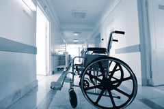 Wheelchair in a hospital Stock Image