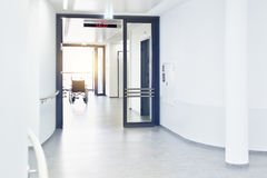 Wheelchair hospital corridor Stock Photo