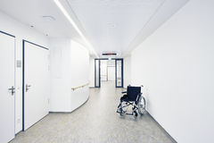 Wheelchair hospital corridor Stock Photography