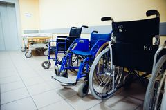 Wheelchair is in the hospital stock photos
