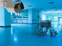 Wheelchair Hospital scary and lonely. And cctv royalty free stock photos