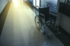 Wheelchair in the hospital. Royalty Free Stock Images