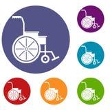Wheelchair icons set Royalty Free Stock Photos