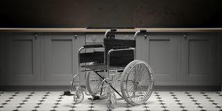 Wheelchair isolated on light yellow wall and floor background, empty room. 3d illustration royalty free illustration