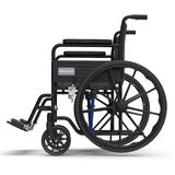 Wheelchair isolated on white. Side view. 3D illustration, clipping path Stock Photo