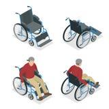 wheelchair mężczyzna wózek inwalidzki Mieszkania 3d isometric wektorowa ilustracja Międzynarodowy dzień Persons z royalty ilustracja