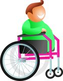 Wheelchair man. Happy disabled man sitting in a wheelchair isolated on white - icon people series Stock Photos