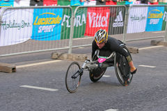 Wheelchair Marathon Racer Stock Photo