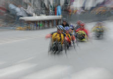 Wheelchair-motion blur. Wheelchair racer at the Hamburg Marathon 2006 in germany, europe Stock Photo