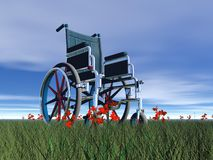 Wheelchair in nature - 3D render Royalty Free Stock Photography