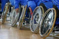 Wheelchair new 2. Disabled persons basketball players in wheelchairs Stock Photos