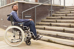 Wheelchair obstruction Royalty Free Stock Photography