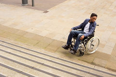 Wheelchair obstruction Royalty Free Stock Image