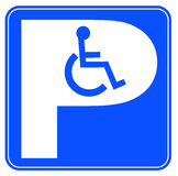 Wheelchair parking. Blue handicap parking or wheelchair parking space sign Royalty Free Stock Image